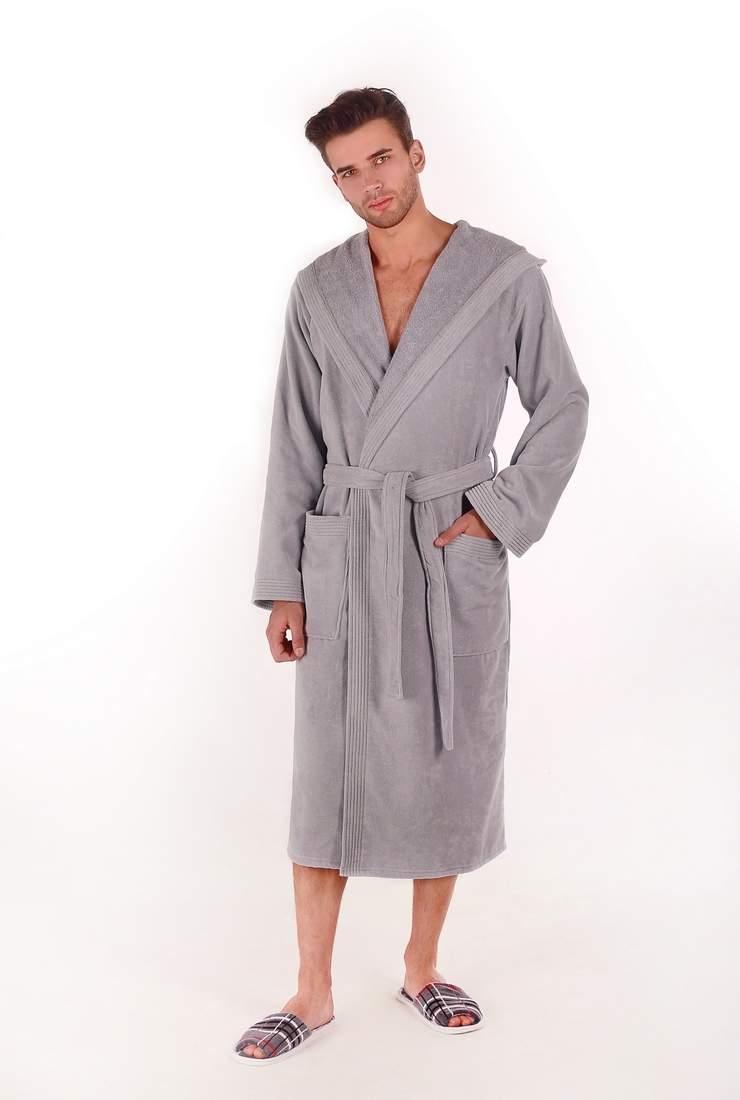1a93bae70772 Купить велюровый мужской махровый халат с капюшоном - Спорт велюр