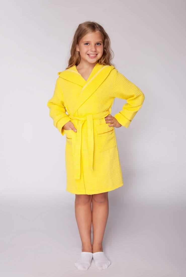 7290ae5ec3a39 Купить домашний детский вафельный халат с капюшоном для девочек